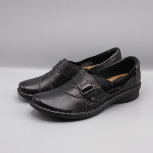 Earth Origins Meadow Black Leather Loafers Clogs